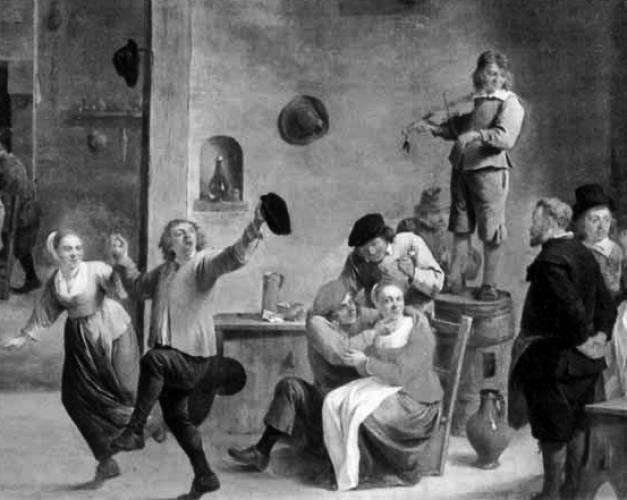 Таверна. Фрагмент картины Давида Тенирса Младшего