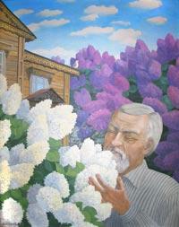 Картина гатчинского художника В. Монахова «Прощание Куприна с гатчинской сиренью»