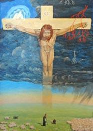 Картина В.Монахова Распятие и овцы